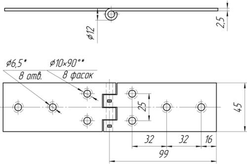 Петля мебельная ПС-106-04 | Схема 1